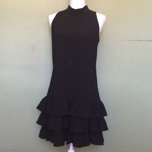 CYNTHIA STEFFENS sleeveless black dress ruffles